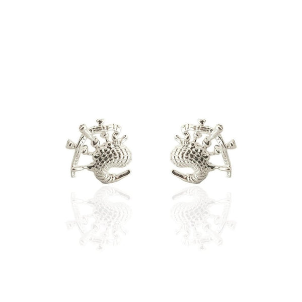Scottish Bagpipes Stud Earrings in Silver