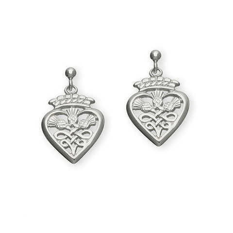 Scottish Luckenbooth Entwined Thistle Drop Earrings in Silver
