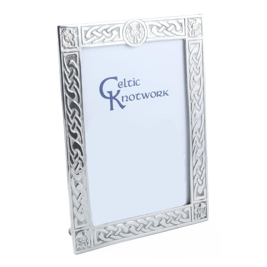 Scottish Thistle & Celtic Knot Picture Frame In Pewter