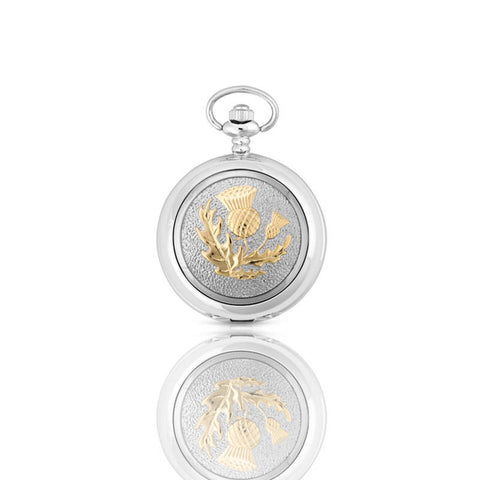 Scottish Thistle Mechanical Pocket Watch in Pewter