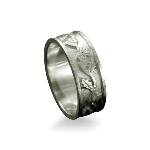 Scottish Thistle Ring with Entwined Motif Platinum