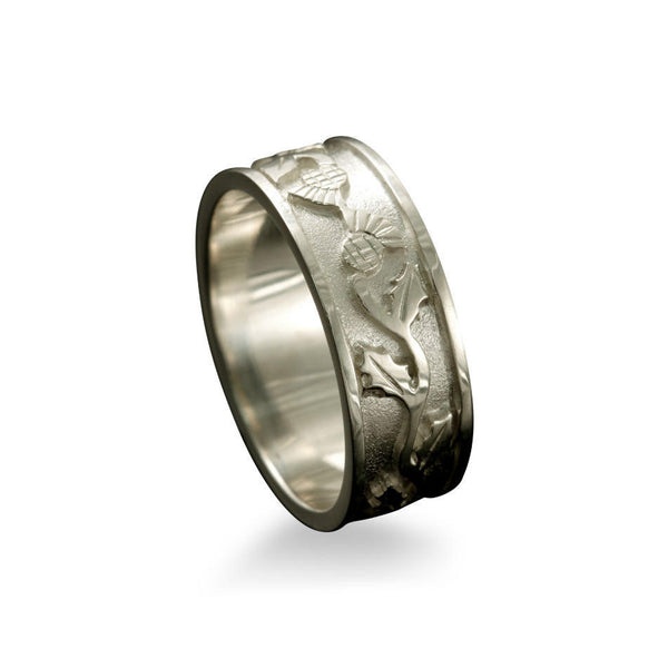 Scottish Thistle Ring with Entwined Motif White Gold