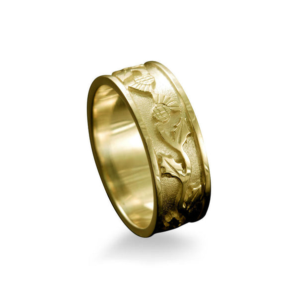Scottish Thistle Ring with Entwined Motif Yellow Gold