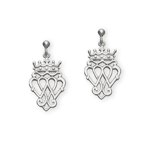 Scottish Traditional Triple Heart Luckenbooth Drop Earrings in Silver