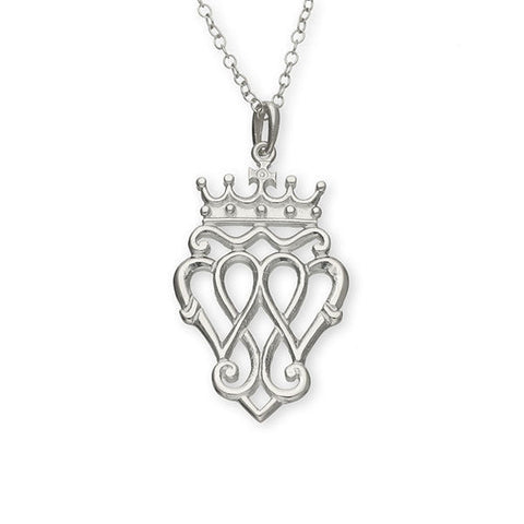 Scottish Traditional Triple Heart Luckenbooth Pendant in Silver