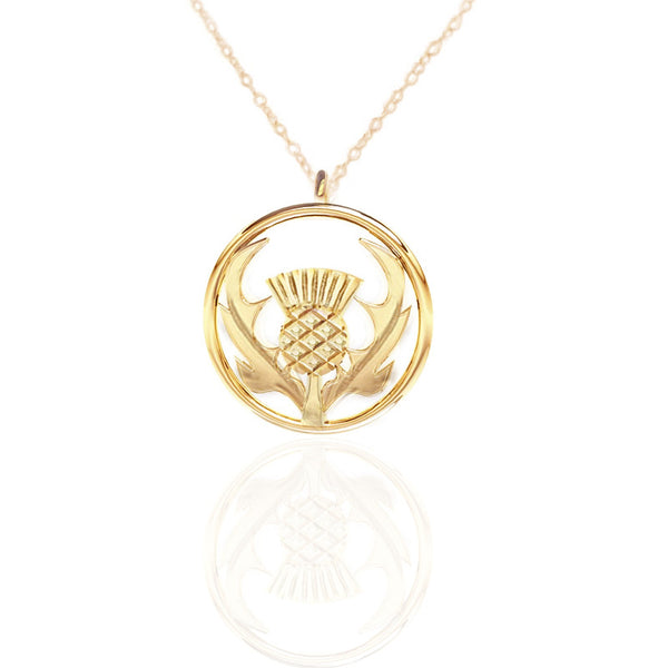 Round Scottish Thistle Necklace in Gold- Tappit Hen Gallery