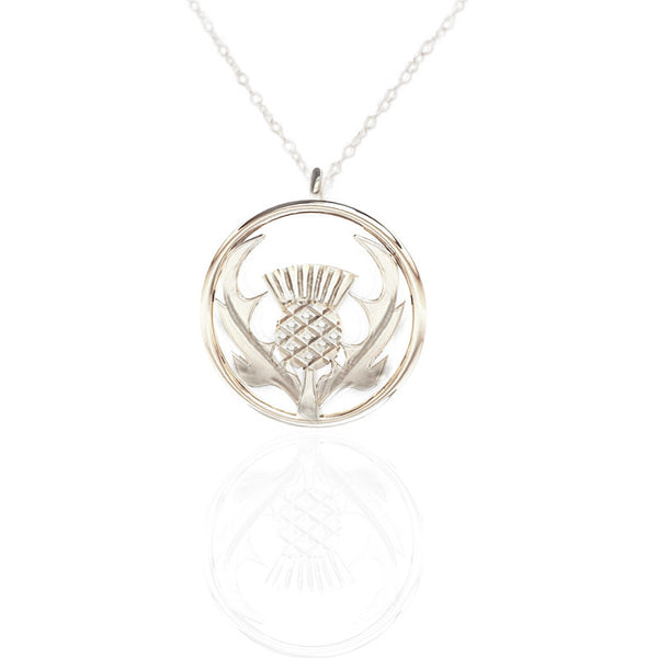 Round Scottish Thistle Necklace in Silver- Tappit Hen Gallery