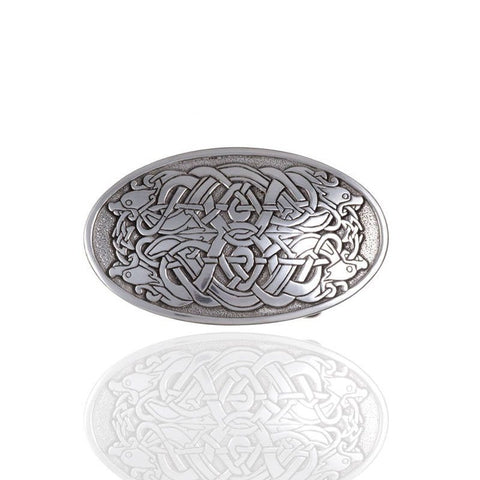 Serpent Belt Buckle In Pewter