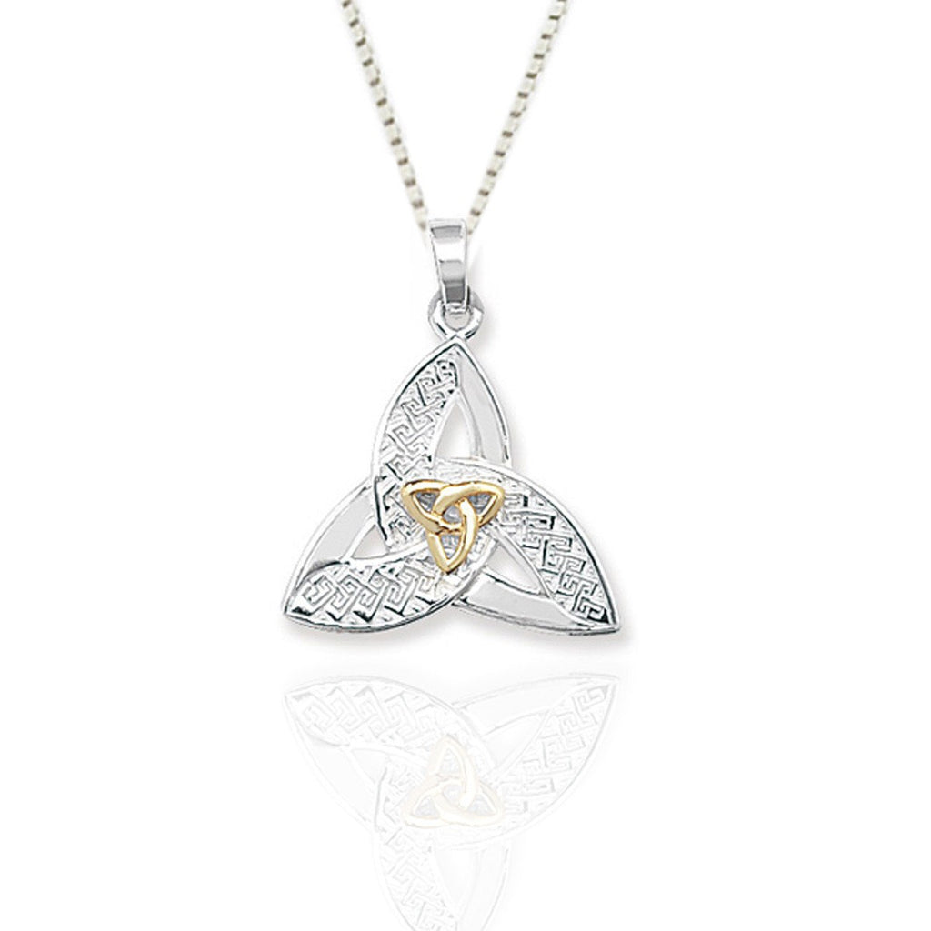 Sterling Silver Trinity Pendant with Gold detail