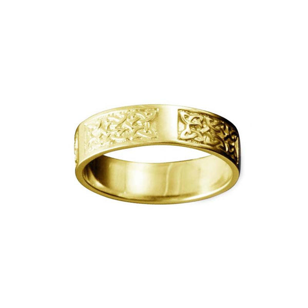 Whalsay Celtic Knotwork Panel Ring Yellow Gold