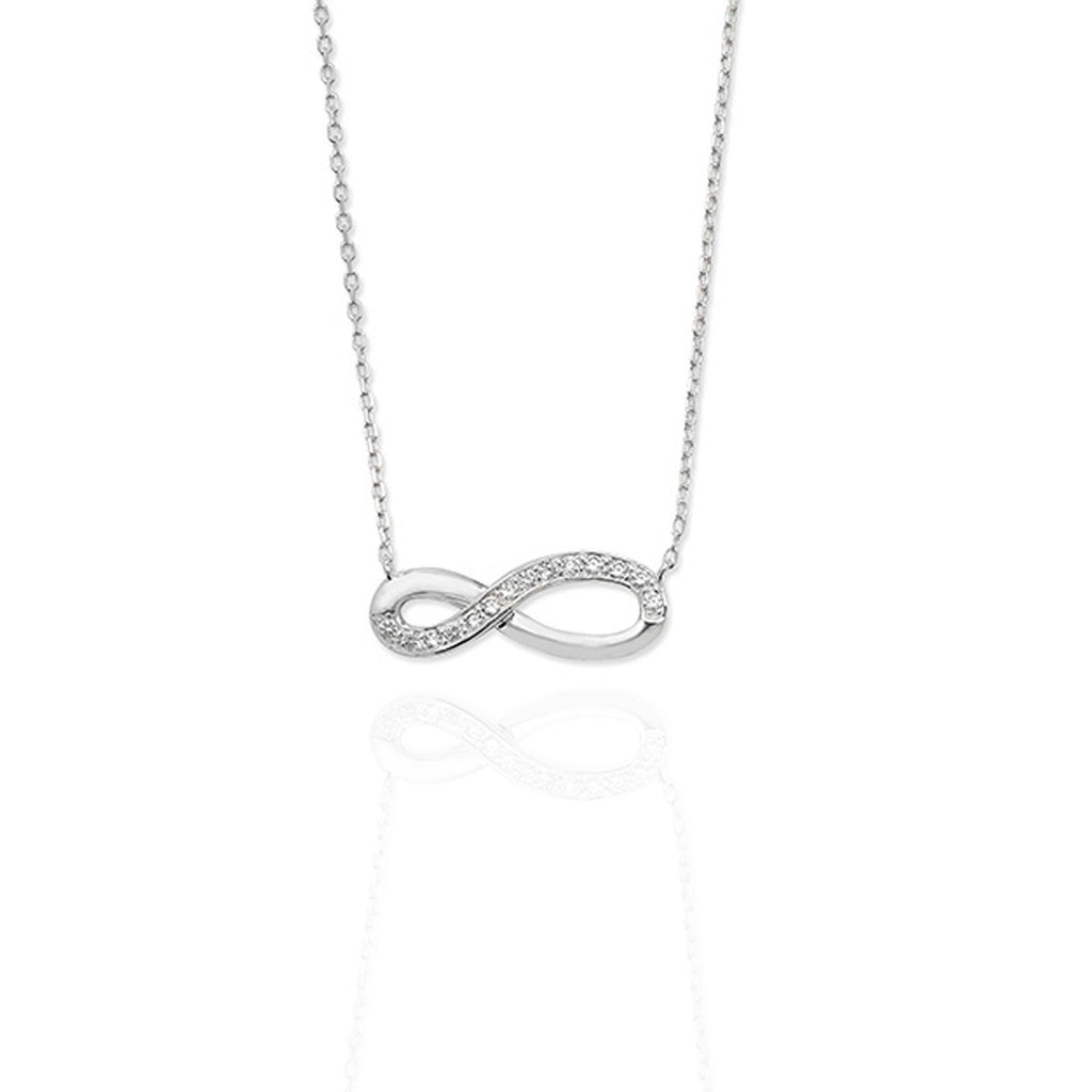 Sterling Silver Infinity Necklace with pave set CZs