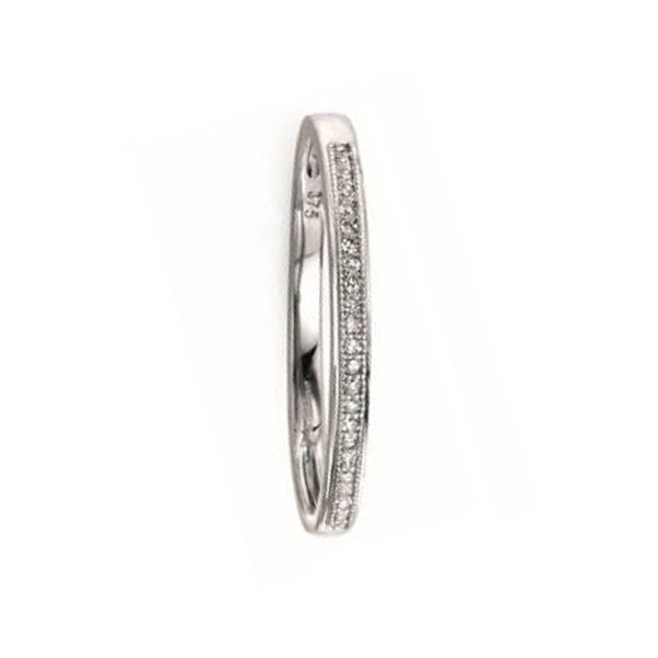 White Gold Simple Pave Set Diamond Band