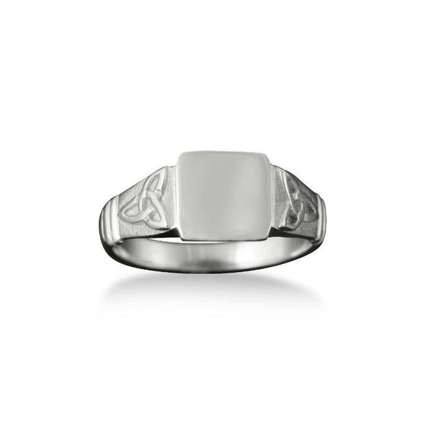 Small Celtic Trinity Knot Signet Ring in Silver
