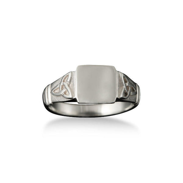 Small Celtic Trinity Knot Signet Ring in White Gold