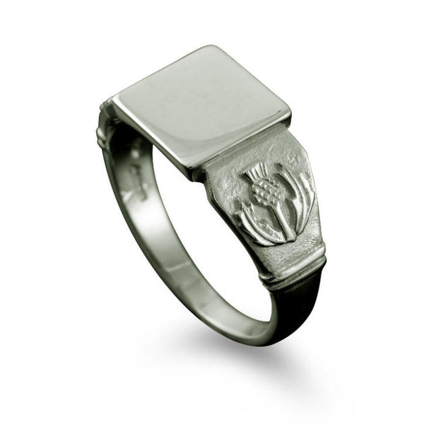 Small Scottish Thistle Signet Ring Platinum