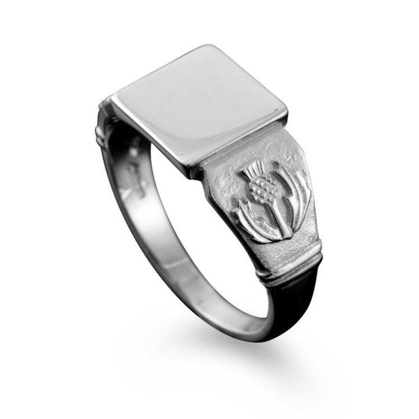 Small Scottish Thistle Signet Ring Sterling Silver