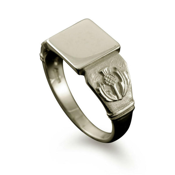 Small Scottish Thistle Signet Ring White Gold
