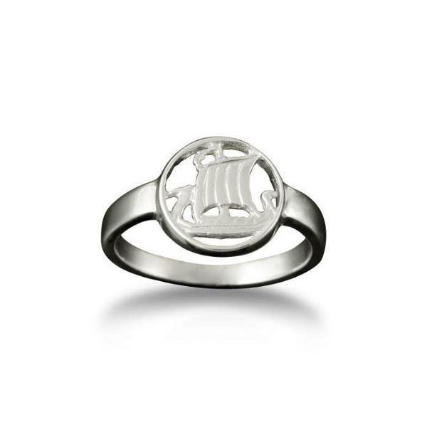 Small Viking Longship Ring in Platinum