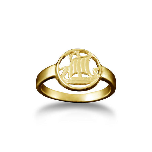 Small Viking Longship Ring in Yellow Gold