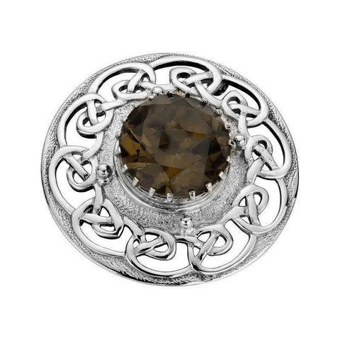 Smoky Quartz Brooch with Celtic Surround in Silver