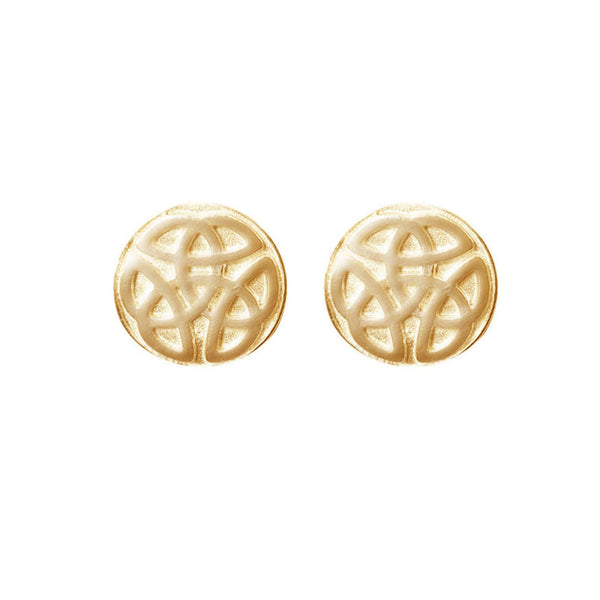 Celtic Knot work solid Ball Stud Earrings in Gold