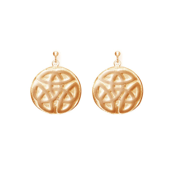 Celtic Knot work solid Gold Ball Stud Drop Earrings