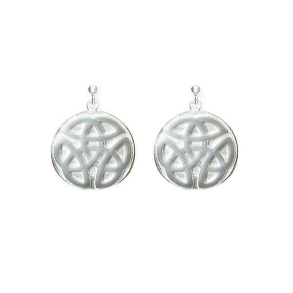 Celtic Knot work solid Ball Silver Stud Drop Earrings