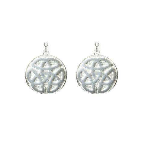 Celtic Knot work solid Ball Stud Drop Earrings