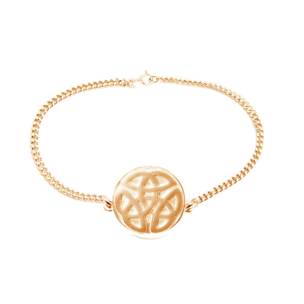 Celtic Knot work Solid Round Bracelet in Gold
