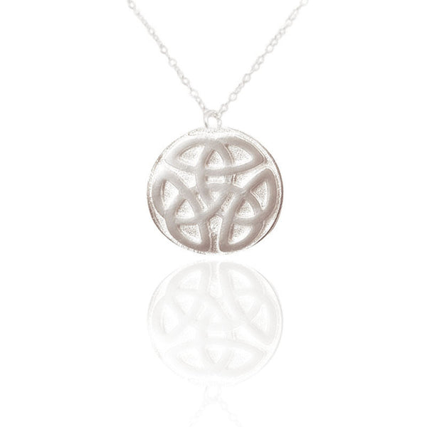 Celtic Knot work Solid Round Necklace in CSilver