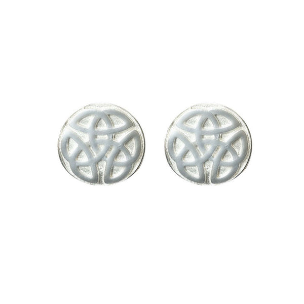 Celtic Knot work solid Ball Stud Earrings in Silver