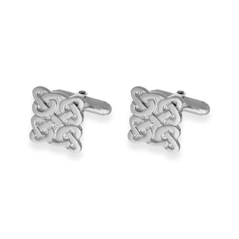 Square Celtic Knotwork Cufflinks In Silver