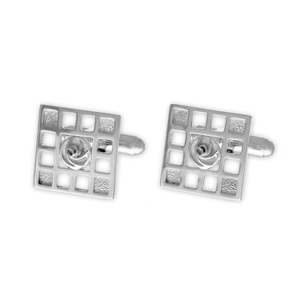 Square Rennie Mackintosh Rose Art Deco Cufflinks In Silver