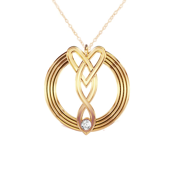 Celtic Infinity Heart Pendant in Gold