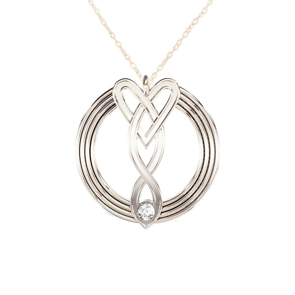 Celtic Infinity Heart Pendant in Silver
