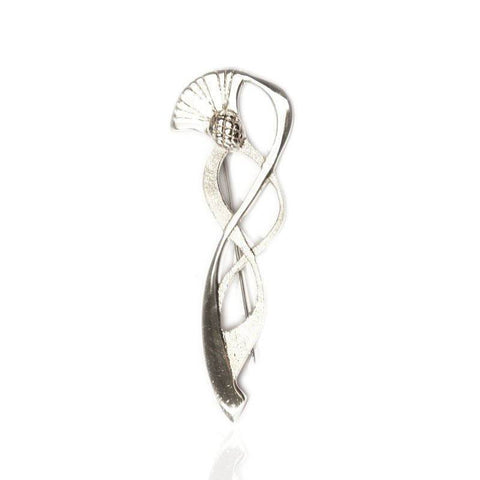 Swirling Thistle Kilt Pin in Silver