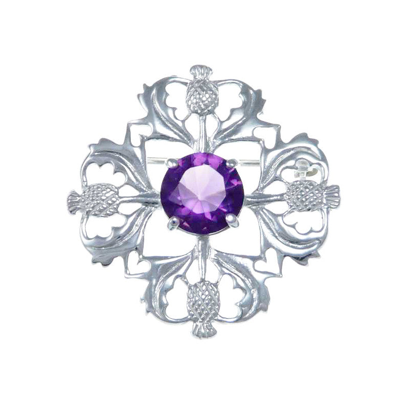 Four Thistle Brooch in Sterling Silver with Amethyst