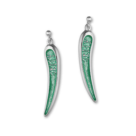 Tapered Enamelled Runic Dream Drop Earrings