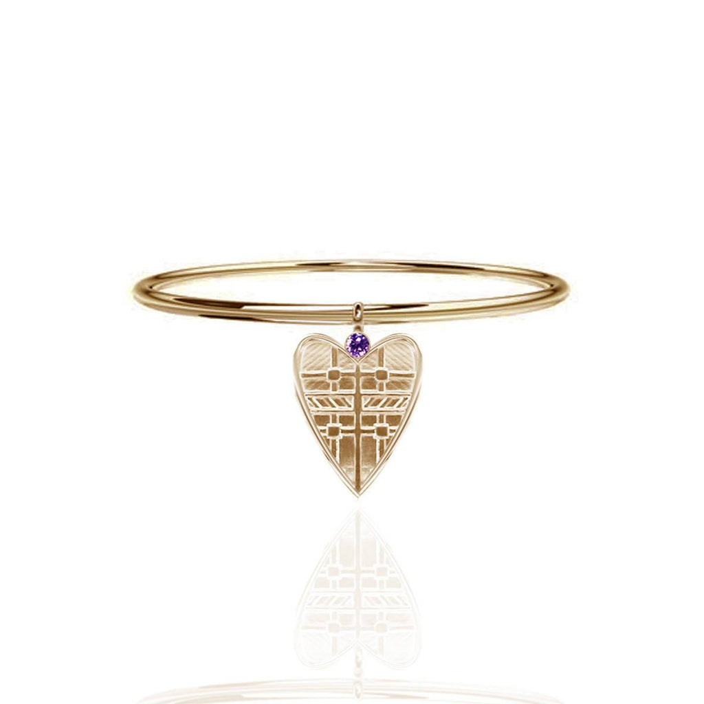 Tartan Heart Bangle with Amethyst in Gold