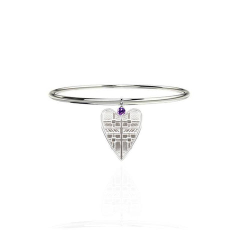 Tartan Solid Heart Bangle with Amethyst in Silver