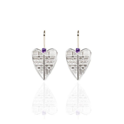 Tartan Solid Heart Drop Earrings with Amethyst in Silver