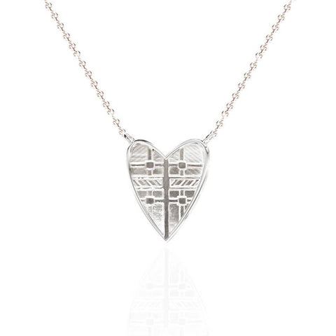 Tartan Solid Heart Necklace in Silver