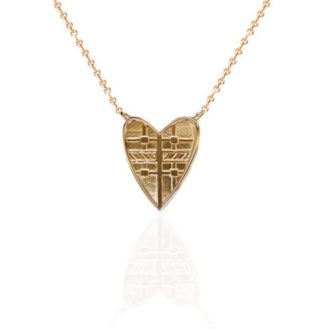 Tartan Solid Heart Necklace in Yellow Gold Vermeil