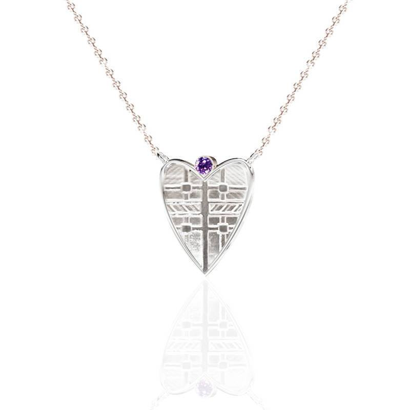 Tartan Solid Heart Necklace with Amethyst in Silver