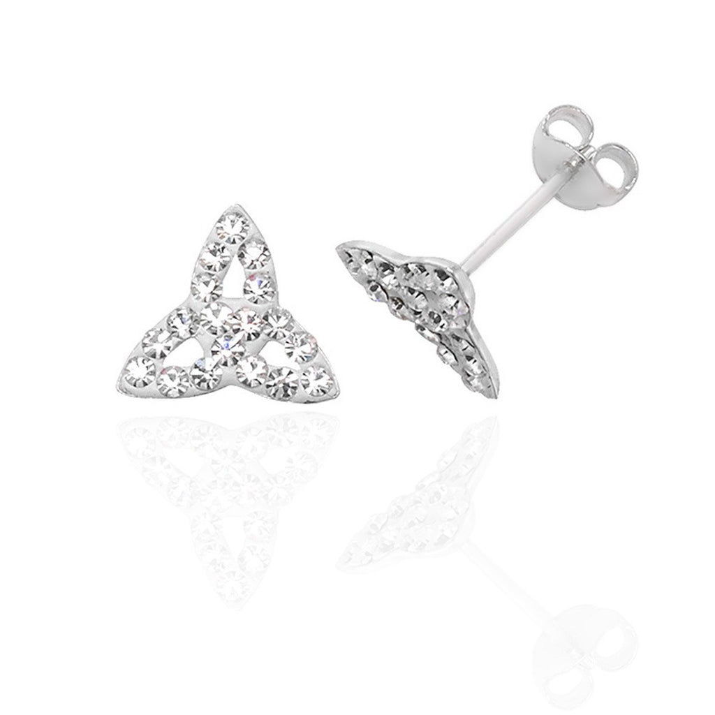 Sterling Silver Trinity Stud with Round Brilliant Cut Crystals