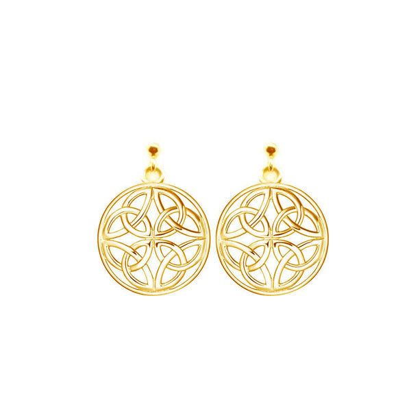 Four Trinity Celtic Knot Eternal Round Stud Drop Earrings in 9 ct Yellow Gold-jn76-g