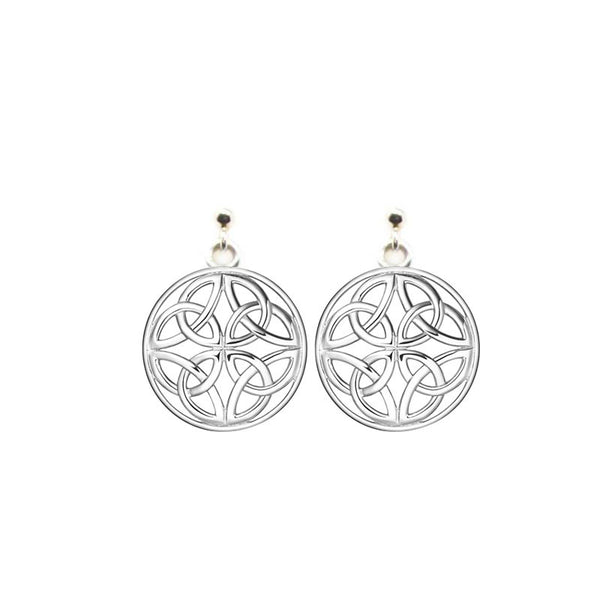 Four Trinity Celtic Knot Eternal Round Stud Drop Earrings in Silver-jn76-s
