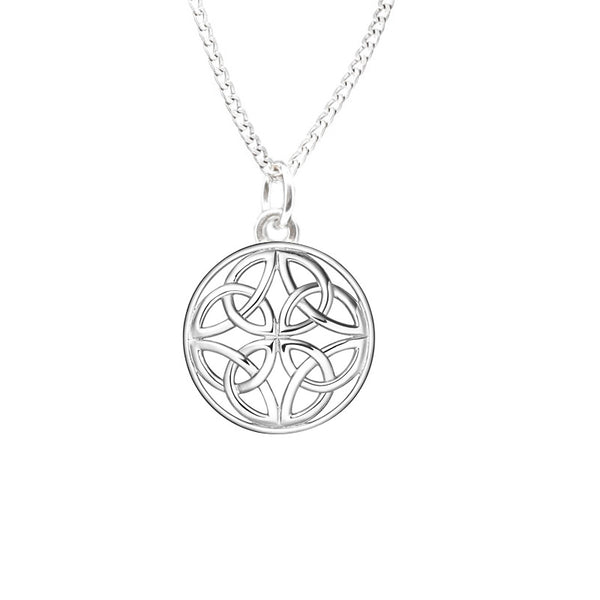 Four Trinity Celtic Knot Eternal Round Pendant in Silver-jn75-s