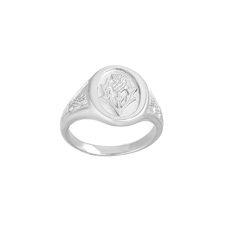 Scottish Thistle Signet Ring in Sterling Silver