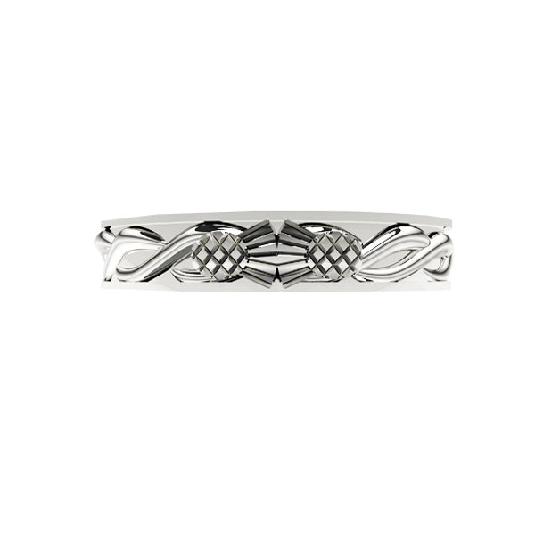SCOTTISH THISTLE KISS CELTIC TWIST WEDDING RING